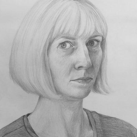 Self-portrait (pencil on paper, 30x42cm, 2020)